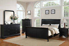 Contemporary Queen Bed Dresser Mirror Night Stand bedroom Furniture Black Color