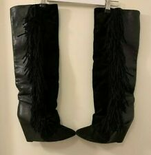 Isabel Marant Knee High Fringe Leather/Suede boots w/ dustbags - UK7 40