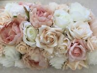 Blush, Ivory And Champagne Wedding Top Table Flower Arrangement Roses Peonies