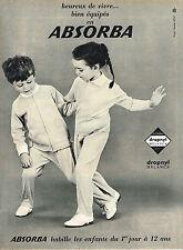PUBLICITE ADVERTISING 015  1965  ABSORBA  vetements enfants pyjamas
