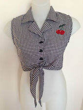 Rockabilly Pinup Sexy Sleeveless Black/White Tie Up Top  - Cherry detail SIZE XL