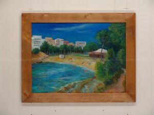 Llop - platja Pixavaques i camping - Ametlla d Mar - oli original emmarcat 47x37