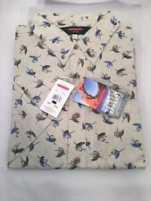 REDINGTON FLY PRINT CASUAL SHIRT SIZE LARGE -  ROCK - MSRP $40 CLOSEOUT
