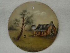 "Hand Painted 7"" Circular Saw Blade LOG CABIN/House TIRE SWING Tree SIGNED ADAMS"