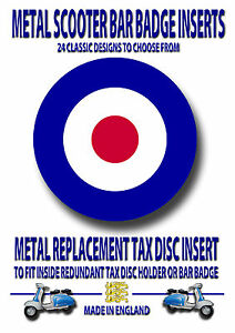 METAL BAR BADGE, METAL REPLACEMENT TAX DISC INSERT,SCOOTERS,MODS VESPA,CODE 1