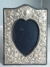 Quality Medium Sized Rococo Silver Love Heart Picture Frame - London 1989