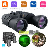 Waterproof 50mm Tube 10x-180x100 Super Zoom HD Night Vision Binoculars BAK-4