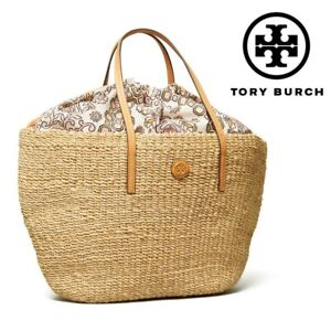 NWT TORY BURCH HICKS GARDEN LARGE STRAW BEACH TOTE