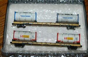 Alan Curtis N-Scale 60' Flat cars with BulkTainer Loads, cars floors are WOOD
