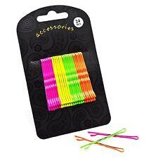 24 Neon Colour Hair Grip Set Pink Yellow Green Orange 5cm Kids Fancy Style