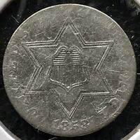 1858 Three Cent Piece Silver Trime 3c Better Date Rare  #11689