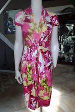 ETCETERA Women's 4 Floral Print Cotton Blend V Neck Cap Sleeve Sheath Dress Q