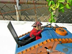 Vintage Antique Marx Tin Litho Wind Up Toy WWI Doughboy Tank working