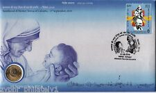 """India - """"SAINTHOOD OF MOTHER TERESA"""" Ltd Edition Silk PNC / Coin Cover 2016 !"""