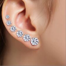 6 Pairs Brillliant Simulated Diamond Earrings Stud Christmas Xmas 925 Silver