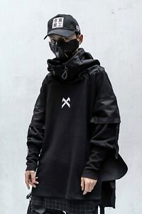MFCT Japanese Streetwear Hoodie Men Black Gothic Cosplay Clothing