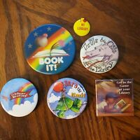 Lot of 6 Vintage 1990 Book It Holographic & misc.Library/ book pinback buttons