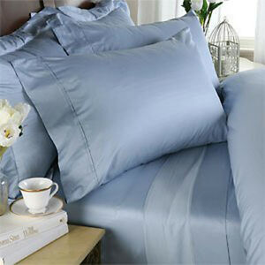 Blue Solid / Plain King Size Sheet Set 1000 Thread Count 100% Egyptian Cotton