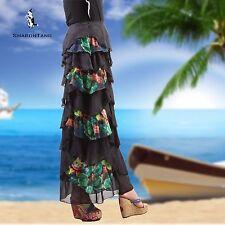 SHARON TANG Modest Apparel Long Chiffon Floral Layer Ruffle Maxi Skirt S