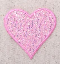 Pink Confetti Heart - Shimmery - Iron on Applique/Embroidered Patch
