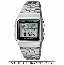 Casio A500WEA-1EF Mens Classic Digtial Wrist Watch¦World Time¦Silver Band¦New¦