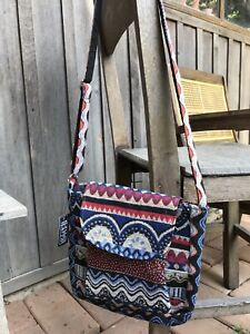 Asian Hobo Fabric Shoulder Crossbody Bag Multi-Color Embroidered Small Size