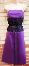 DESSY XMAS PURPLE SATIN BANDEAU BELTED LACE A LINE PARTY EVENING PROM DRESS S M