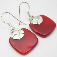 Women Jewelry 17 tcw SOLID Silver Natural RED COLOR CARNELIAN Drop Earrings 1.3""