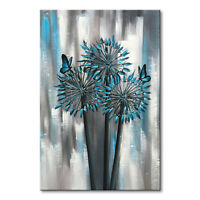 Hand Painted Abstract Blue Flower Oil Painting Wall Art Floral Canvas Home Decor