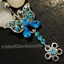 14g Sparkle Blue Butterfly Navel Belly Button Ring Piercing Body Jewelry Barbell