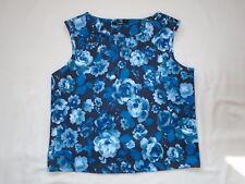 Black + pastel mix of blues bold floral print scuba vest style crop top Size 20