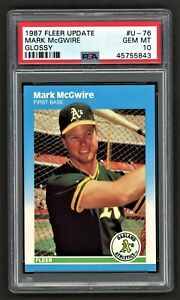 1987 FLEER UPDATE MARK MCGWIRE #U76 GLOSSY ROOKIE RC OAKLAND A'S PSA 10 GEM MINT