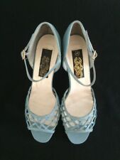 "Vintage Blue Lattice Peep Toe Ankle Strap 2.5"" Heel Shoes  5"