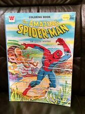 """Vtg Spiderman Coloring Book """"The Oyster Mystery"""" Marvel 1976, Only 10 Colored!"""