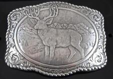 Crumrine Buck Deer Western Belt Buckle Silver Tone 38038
