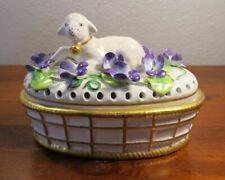 Mottahedeh Porcelain Figural Lamb & Violet Flower Frog or Potpourri Box