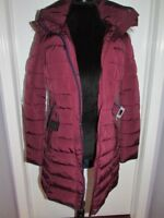 Women's Tommy Hilfiger Red Parka Coat With Faux Fur Trim Hood New Small