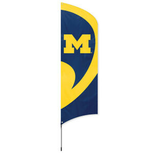 MICHIGAN WOLVERINES Tall Team Swooper Flag DOUBLE SIDED Tailgating Pole Kit