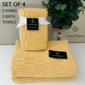 SET OF 4 New Nanette Lepore Hand + Bath Towels Cotton Yellow Vertical Geometric
