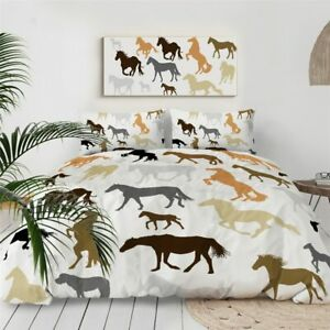 Brown Silhouette Horse Animal King Queen Twin Quilt Duvet Pillow Cover Bed Set