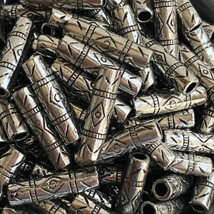 20X Antique Silver Beads 25x7mm Tribal Pattern Acrylic Craft Bead 3.5mm Hole