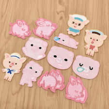 12Pcs Kawaii Pig Embroidery Patches for T-shirt Iron on Clothes Stickers Badges