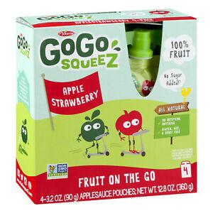 Gogo squeez fruit on the go apple strawberry 4-3.2oz pouches