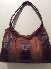 FRANCO SARTO real leather and suede brown moc croc underarm handbag