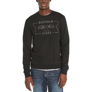 Buffalo David Bitton Mens Black Logo Graphic Crewneck Sweater L BHFO 3934