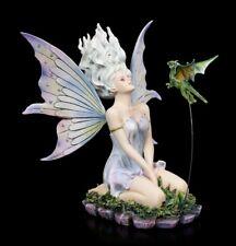 Elves Figurine - Velda Kneeling with Dragon - Fantasy Fairy elfendeko Deco