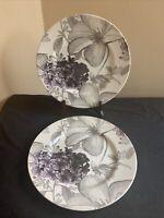 "SET OF 2 Andrew Tanner CLEMATIS PURPLE 11"" Dinner Plates - EUC!"