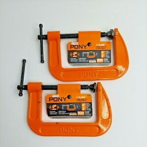 Set of 2 PONY 4-Inch Adjustable C-Clamp Orange 800lbs clamping Pressure NEW