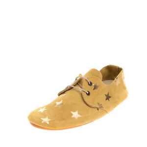 ANNIEL Kids Suede Leather Lace Up Shoes EU33 UK1 US2 Metallic Star Made in Italy
