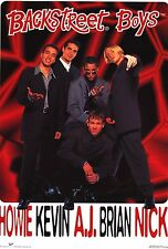 Music Poster~Backstreet Boys Aj,Kevin,Nick,Howie,Brian 1990's Red Names Gag Fun~